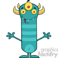 8923 Royalty Free RF Clipart Illustration Happy Horned Blue Monster Cartoon Character With Welcoming Open Arms Vector Illustration Isolated On White vector clip art image