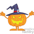 Scaring Halloween Pumpkin With A Witch Hat vector clip art image