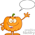 Royalty Free RF Clipart Illustration Funny Halloween Pumpkin Mascot Character Waving With Speech Bubble