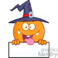 8892 Royalty Free RF Clipart Illustration Happy Witch Pumpkin Cartoon Character Over A Blank Sign Vector Illustration Isolated On White