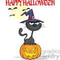 royalty free rf clipart illustration halloween black cat with a witch hat on pumpkin cartoon character and text gif, png, jpg, eps, svg, pdf