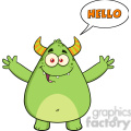 8931 Royalty Free RF Clipart Illustration Happy Horned Green Monster Cartoon Character With Welcoming Open Arms And Speech Bubble Hello Text Vector Illustration Isolated On White