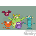 8939 Royalty Free RF Clipart Illustration Happy Funny Monsters Cartoon Characters Vector Illustration With Background vector clip art image