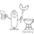 8468 royalty free rf clipart illustration black and white happy sausage cartoon character holding a beer and weenie next to bbq vector illustration isolated on white gif, png, jpg, eps, svg, pdf