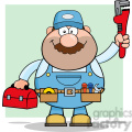 8536 Royalty Free RF Clipart Illustration Mechanic Cartoon Character With Wrench And Tool Box Vector Illustration With Background