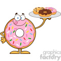 8681 Royalty Free RF Clipart Illustration Donut Cartoon Character Serving Donuts Vector Illustration Isolated On White