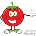 8395 Royalty Free RF Clipart Illustration Smiling Tomato Cartoon Mascot Character Giving A Thumb Up Vector Illustration Isolated On White