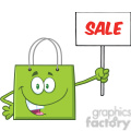 8764 Royalty Free RF Clipart Illustration Green Shopping Bag Cartoon Character Holding Up A Blank Sign With Text Vector Illustration Isolated On White