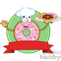 8727 Royalty Free RF Clipart Illustration Chef Pink Donut Cartoon Character With Sprinkles Serving Donuts Circle Label Vector Illustration Isolated On White