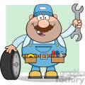 8554 royalty free rf clipart illustration smiling mechanic cartoon character with tire and huge wrench vector illustration with background gif, png, jpg, eps, svg, pdf