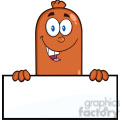8478 Royalty Free RF Clipart Illustration Smiling Sausage Cartoon Character Over A Blank Sign Vector Illustration Isolated On White