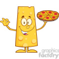 8503 Royalty Free RF Clipart Illustration Happy Cheese Cartoon Character Holding A Pizza Vector Illustration Isolated On White