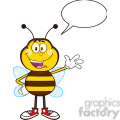 8374 royalty free rf clipart illustration happy bee cartoon mascot character waving vector illustration isolated on white with speech bubble gif, png, jpg, eps, svg, pdf
