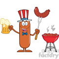 8457 Royalty Free RF Clipart Illustration Patriotic Sausage Cartoon Character Holding A Beer And Weenie Next To BBQ Vector Illustration Isolated On White