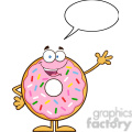 8667 Royalty Free RF Clipart Illustration Cute Donut Cartoon Character With Sprinkles Waving Vector Illustration Isolated On White With Speech Bubble