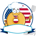 8653 Royalty Free RF Clipart Illustration Chef Donut Cartoon Character Over A Circle Blank Banner In Front Of Flag Of USA Vector Illustration Isolated On White