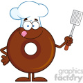8710 Royalty Free RF Clipart Illustration Chocolate Chef Donut Cartoon Character Holding A Slotted Spatula Vector Illustration Isolated On White