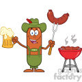 8466 Royalty Free RF Clipart Illustration German Oktoberfest Sausage Cartoon Character Holding A Beer And Weenie Next To BBQ Vector Illustration Isolated On White