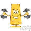 8504 Royalty Free RF Clipart Illustration Smiling Cheese Cartoon Character Training With Dumbbells Vector Illustration Isolated On White