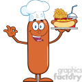 8434 Royalty Free RF Clipart Illustration Happy Chef Sausage Cartoon Character Carrying A Hot Dog, French Fries And Cola Vector Illustration Isolated On White