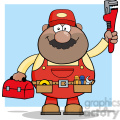 8538 royalty free rf clipart illustration african american mechanic cartoon character with wrench and tool box vector illustration with background gif, png, jpg, eps, svg, pdf