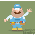 8529 Royalty Free RF Clipart Illustration Mechanic Cartoon Character Waving For Greeting Flat Style Vector Illustration With Background