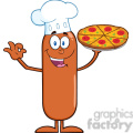 8482 Royalty Free RF Clipart Illustration Chef Sausage Cartoon Character Holding A Pizza Vector Illustration Isolated On White