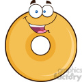 8645 Royalty Free RF Clipart Illustration Happy Donut Cartoon Character Vector Illustration Isolated On White