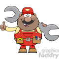 8546 Royalty Free RF Clipart Illustration African American Mechanic Cartoon Character Holding Huge Wrench And Giving A Thumb Up Vector Illustration Isolated On White