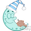 6988 Royalty Free RF Clipart Illustration Cute African American Baby Boy Sleeps On Blue Moon Cartoon Characters