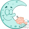 royalty free rf clipart illustration cute baby boy sleeps on blue moon cartoon characters  gif, png, jpg, eps, svg, pdf