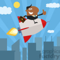8344 Royalty Free RF Clipart Illustration African American Manager Flying Over City And Giving Thumb Up Flat Style Vector Illustration