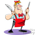 Chuck the cartoon butcher holding a knife