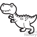 trex dinosaur cartoon in black and white