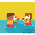olympic boxing sports characters illustration