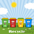 royalty free rf clipart illustration four color recycle bins cartoon character on a sunny hill with text recycle vector illustration isolated on white background gif, png, jpg, eps, svg, pdf