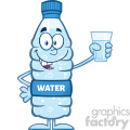 royalty free rf clipart illustration smiling water plastic bottle cartoon mascot character holding a water glass vector illustration isolated on white