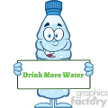 royalty free rf clipart illustration water plastic bottle cartoon mascot character holding a sign with text vector illustration isolated on white