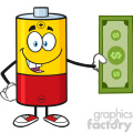 royalty free rf clipart illustration battery cartoon mascot character holding a dollar bill vector illustration isolated on white