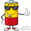 royalty free rf clipart illustration funny battery cartoon mascot character with sunglases giving a thumb up vector illustration isolated on white