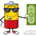 royalty free rf clipart illustration battery cartoon mascot character with sunglasses holding a dollar bill vector illustration isolated on white gif, png, jpg, eps, svg, pdf