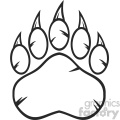 royalty free rf clipart illustration black and white bear paw with claws vector illustration isolated on white background