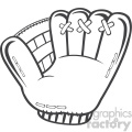 royalty free rf clipart illustration black and white baseball glove vector illustration isolated on white background