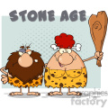 caveman couple cartoon mascot characters with red hair woman holding a club and text stone age vector illustration with text stone age gif, png, jpg, eps, svg, pdf