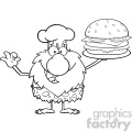 black and white chef male caveman cartoon mascot character holding a big burger and gesturing ok vector illustration