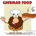 chef male caveman cartoon mascot character holding a big steak and gesturing ok vector illustration with text caveman food gif, png, jpg, eps, svg, pdf