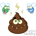 royalty free rf clipart illustration two flies hovering over pile of happy poop cartoon characters vector illustration isolated on white backgrond