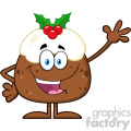 royalty free rf clipart illustration happy christmas pudding cartoon character waving for greeting vector illustration isolated on white