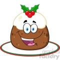 royalty free rf clipart illustration happy christmas pudding cartoon character with frosting and holly vector illustration isolated on white