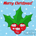royalty free rf clipart illustration happy christmas holly berries with leaves cartoon characters vector illustration greeting card